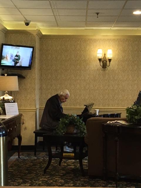 regency park resident welcomes visitors with music regency nursing